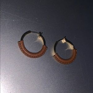 ralph lauren gold and leather earnings